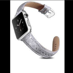 Apple leather silver sparkly watch band 🆕